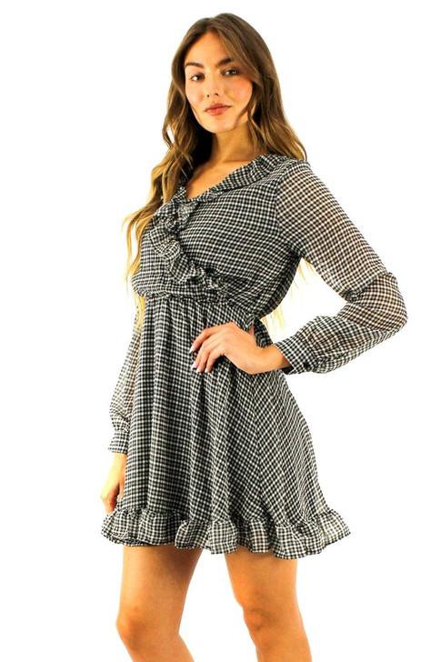 Long Sleeve Ruffle High Waisted Mini Dress 6pcs