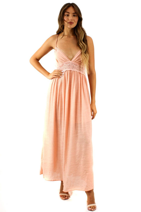 Cream Tank Lace Maxi Dress 6pcs