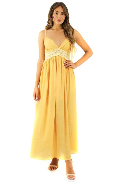 Yellow Tank Lace Maxi Dress 6pcs
