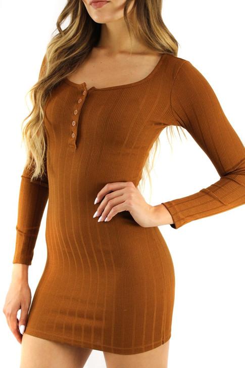 Rust Skinny Long Sleeve Button Up Mini Dress 5pcs