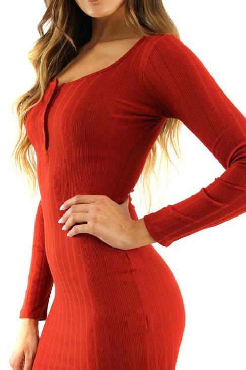 Red Skinny Long Sleeve Button Up Mini Dress 5pcs