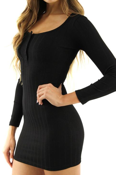 Black Skinny Long Sleeve Button Up Mini Dress 5pcs