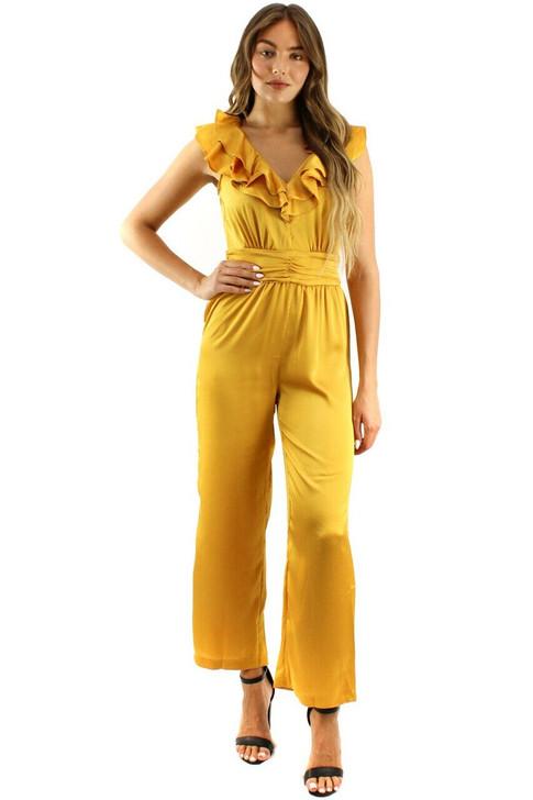 Yellow Ruffle Tie Back Jumpsuit 6pcs
