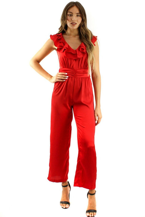 Red Ruffle Tie Back Jumpsuit 6pcs