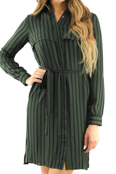 Green Wrap Above the Knee Tie Dress 6pcs