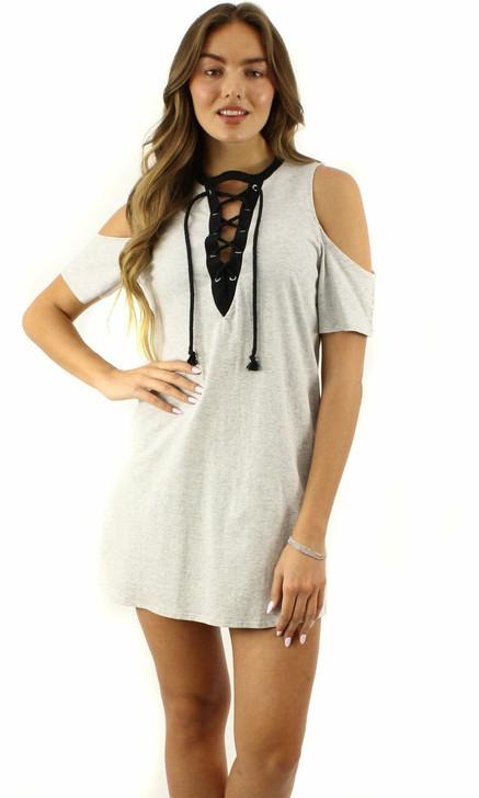 Gray Short-Sleeve Off-Shoulder V-Neck Lacing Dress 6pcs