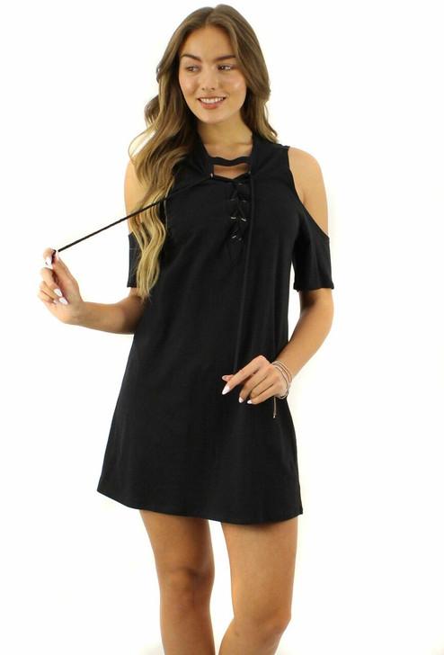 Black Short-Sleeve Off-Shoulder V-Neck Lacing Dress 6pcs