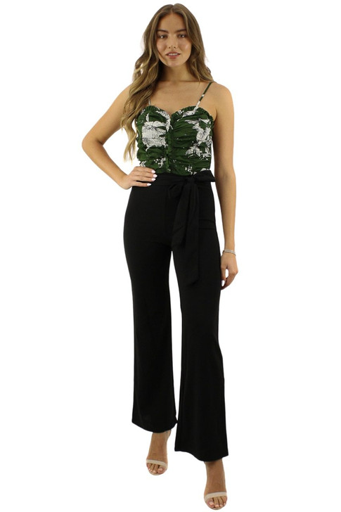 Green Balcony Cut Tie Top-and-Pants Jumpsuit 6pcs