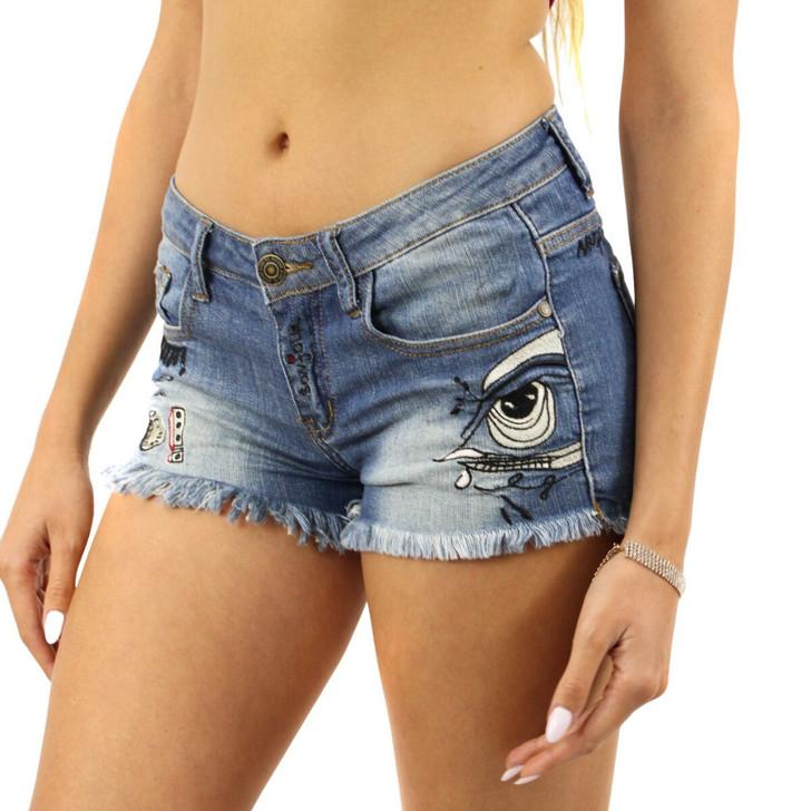 Decorated Frayed Jeans Mini Shorts 6pcs