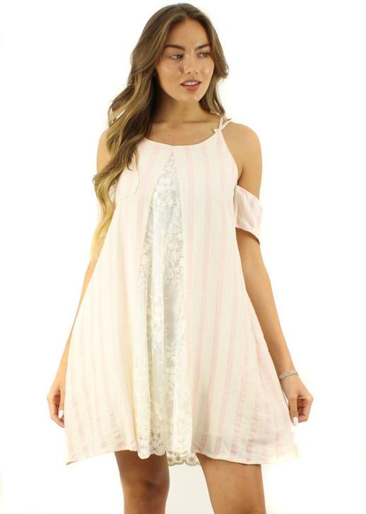 Cream Spaghetti Stripe Off-Shoulder Lace Front Mini Dress 6pcs