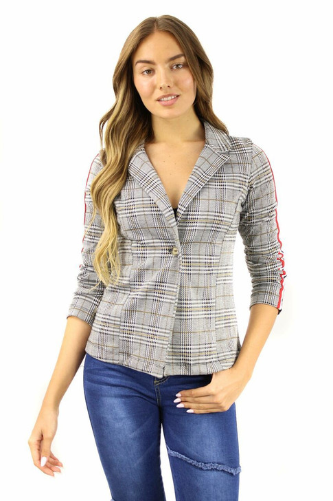 Tartans Notch Button Up Blazer with 3-colors Side Lines 6pcs