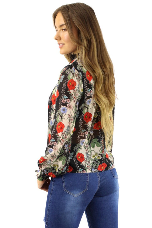 Floral High Neck Long Sleeve Blouse 6pcs