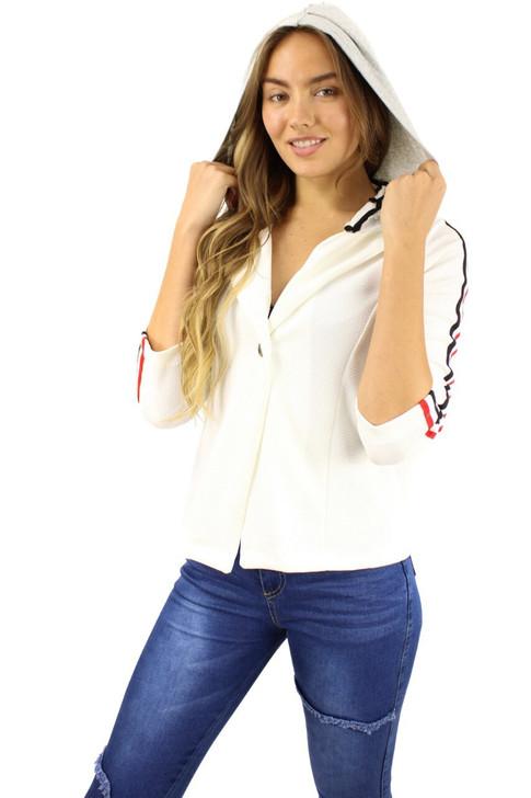 White Notch Button Up Hoodie Blazer 6pcs