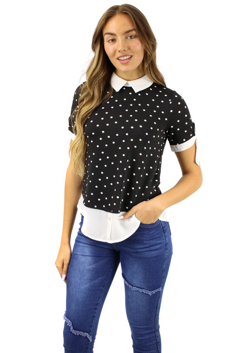 Black Dot White Sollar Blouse with Sleeve Tie and Shirt-styled Bottom 6pcs