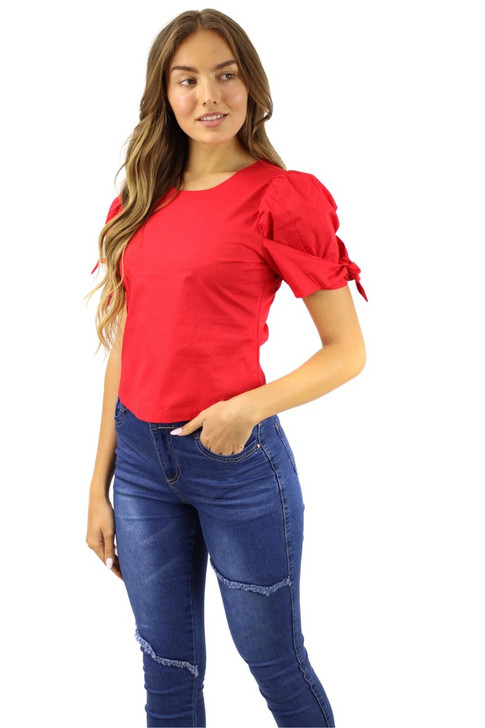 Red Boat Neck Short Tie Sleeve Cotton Top 6pcs