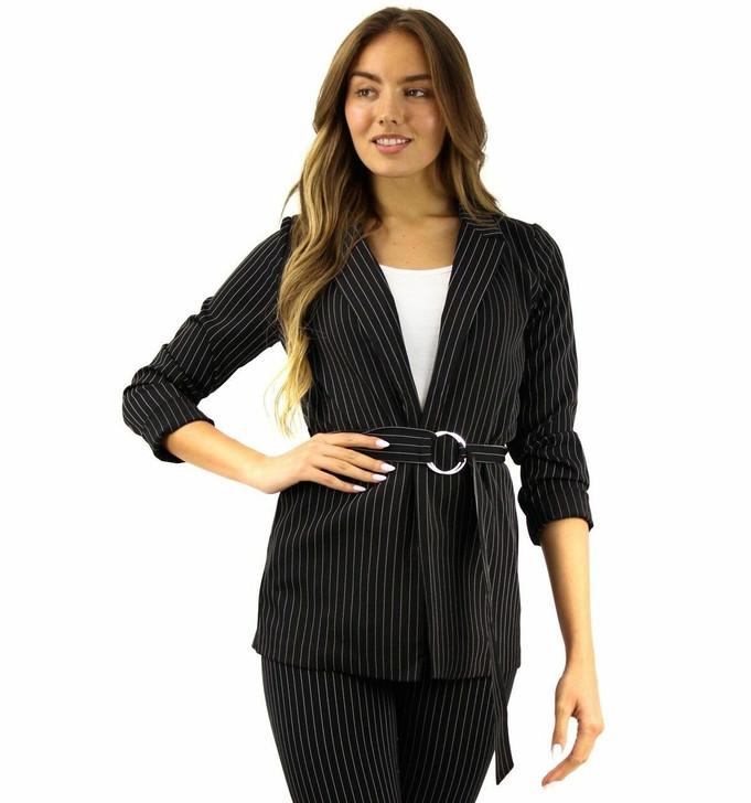 Pencil Stripe Black Blazer with Belt 6pcs