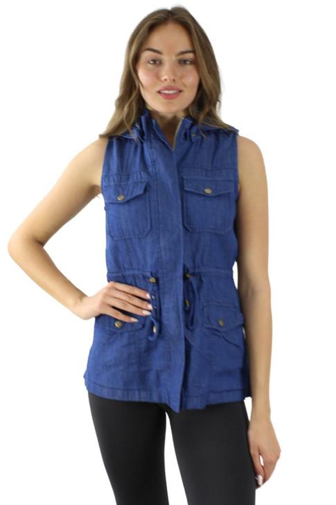 Light Denim Pocket Zipper Open Front Vest Jacket with Detachable Hoodie 6pcs