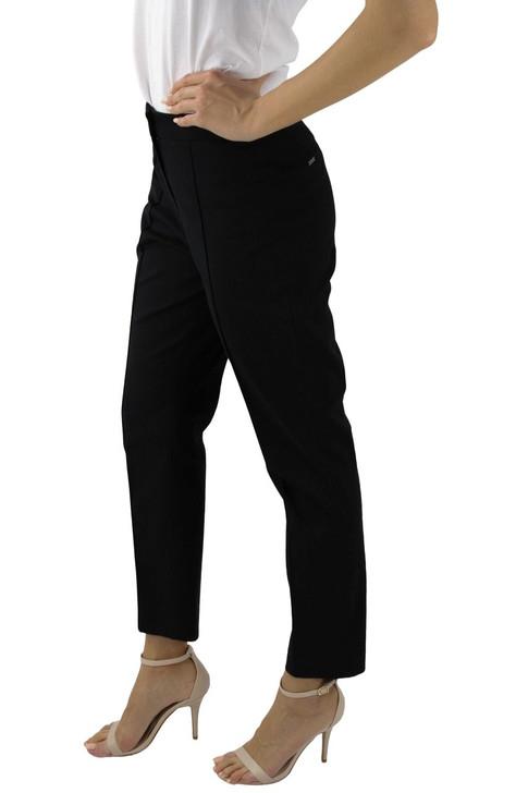 Black Cotton Crease Line Button Straight Pant 9pcs