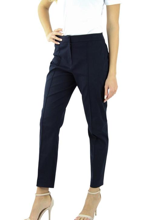 Navy Cotton Crease Line Button Straight Pant 10pcs