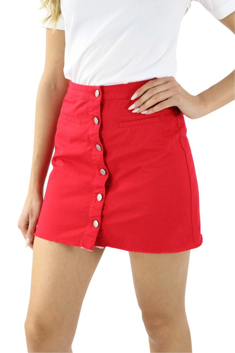 Red Button Open Front Pocket Mini Sexy Tube Skirt 10pcs