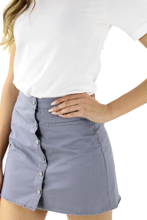 Gray Button Open Front Pocket Mini Sexy Tube Skirt 7pcs