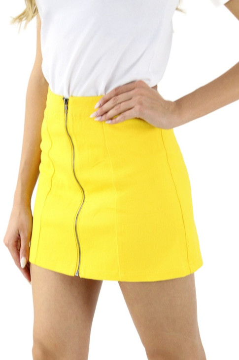 Yellow Zipper Open Front Mini Sexy Tube Skirt 5pcs