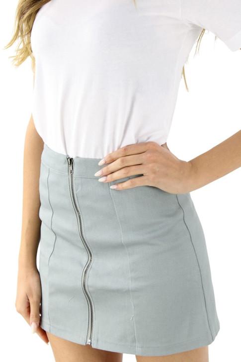 Gray Zipper Open Front Mini Sexy Tube Skirt 6pcs
