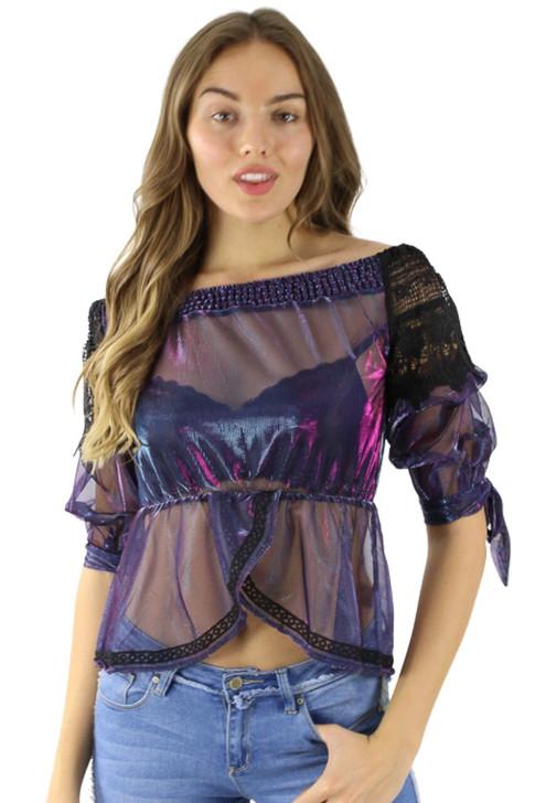 Blue/Violet Lace Organza Sexy Top 6pcs