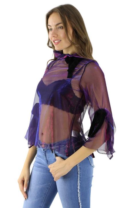 Blue/Violet Open Back Silk Velvet Tie Organza Sexy Top 6pcs