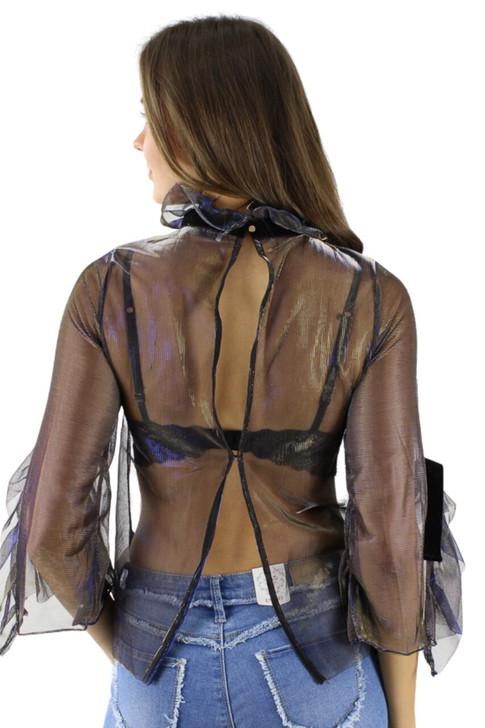 Blue/Yellow Open Back Silk Velvet Tie Organza Sexy Top 6pcs