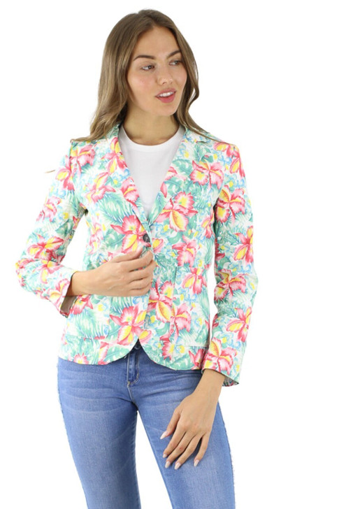 Floral Single Breasted Cotton Blazer 6pcs
