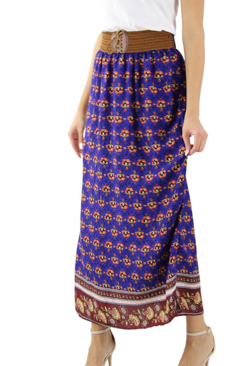 Floral Maxi Skirt with Decorated Stretchable Lacing Belt 6pcs