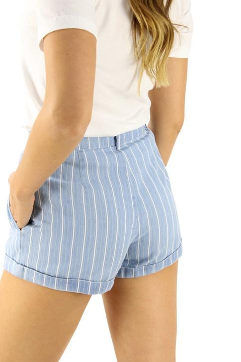 Pinstripe Mini Shorts with 2 Big Pockets 7pcs