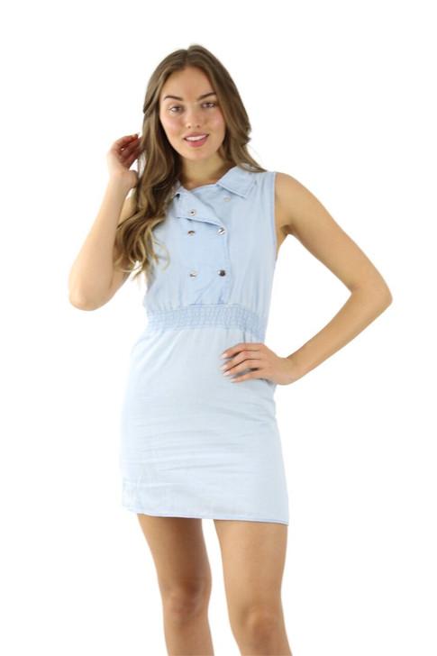 Sleeveless Light Denim Mini Dress 6pcs