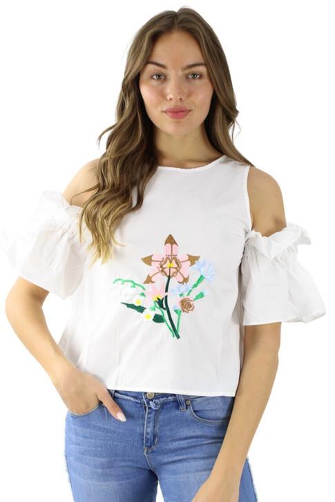Floral White Off Shoulder Blouse 6pcs