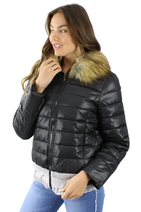 Puffer Jacket with Detachable Faux Fur Collar and Knitted Hoodie 6pcs
