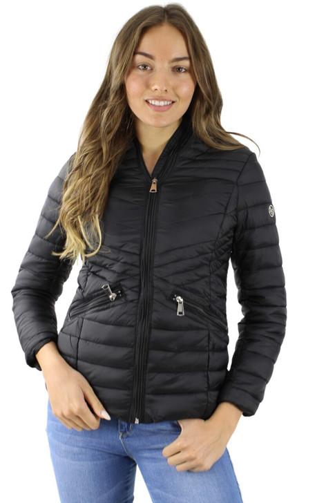 Black Puffer Hoodie Jacket with Faux Fur Inside 6pcs