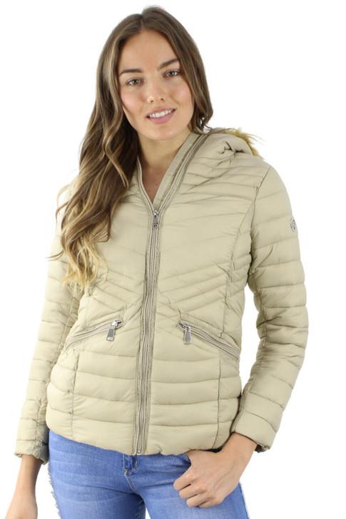Khaki Puffer Hoodie Jacket with Faux Fur Inside 7pcs