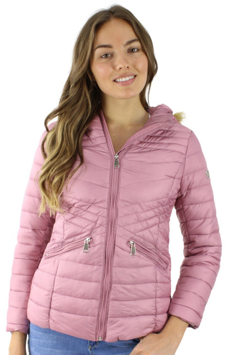 Pink Puffer Hoodie Jacket with Faux Fur Inside 9pcs