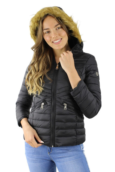 Blue Puffer Hoodie Jacket with Faux Fur Inside 7pcs
