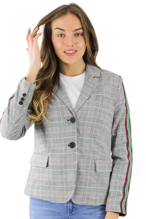 Gray/Maroon Single Breasted Jacket with Green Lines 4pcs