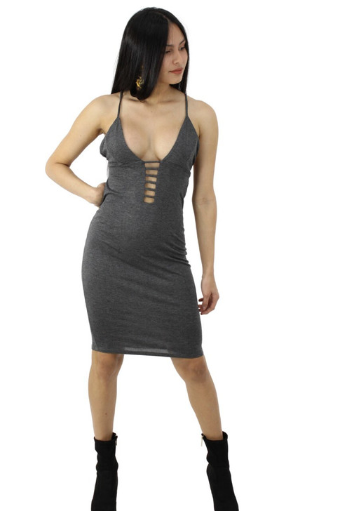 Dim Gray Bodycon Spaghetti Strap Sexy Party Cocktail Midi Dress 6pcs