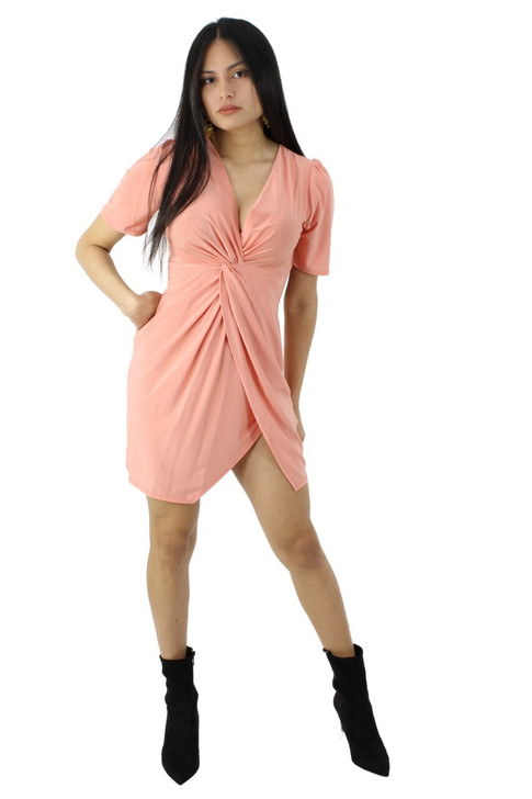 Pink Mini Semi-Wrap Dress with Short Sleeve 6pcs