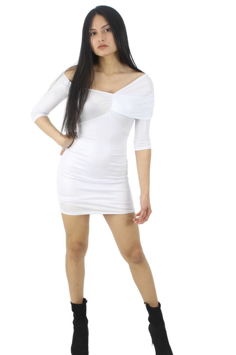 White Asymmetric Off Shoulder Bodycon Sexy Party Cocktail Mini Dress with 3/4 Sleeve 6pcs