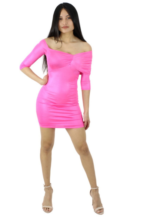 Pink Asymmetric Off Shoulder Bodycon Sexy Party Cocktail Mini Dress with 3/4 Sleeve 6pcs