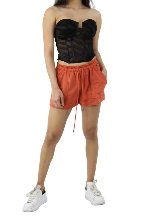 Mahogany Soft Surface Elastic Waistband Shorts with Decorated Edge Pockets 6pcs