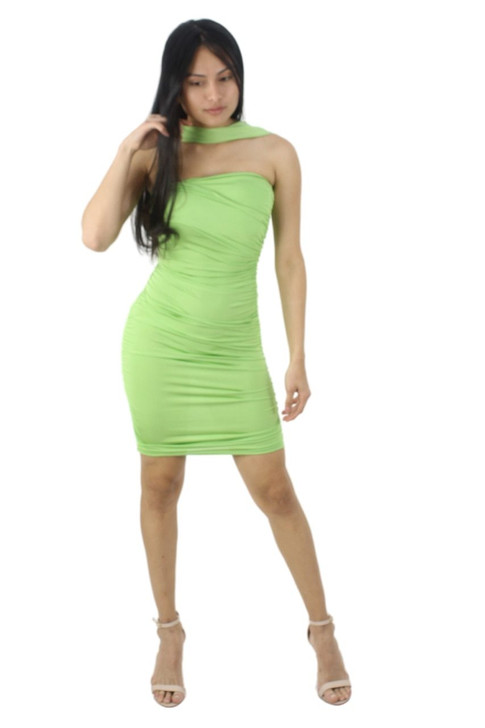 Green Halter Strap Sexy Bodycon Party Cocktail Mini Dress with Folded Style Structure 6pcs