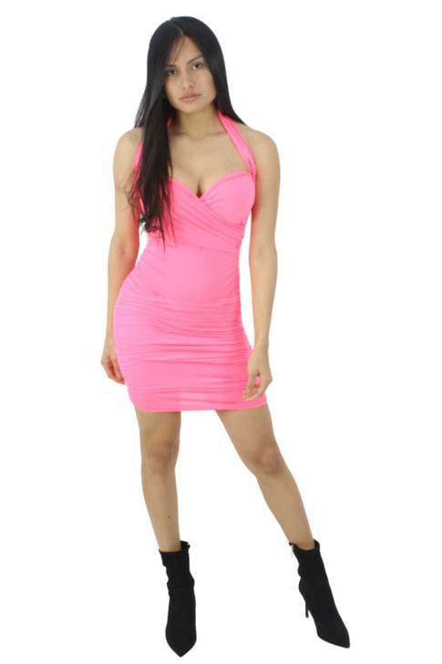 Pink Halter Strap Sexy Bodycon Party Cocktail Mini Dress with Folded Style Structure 6pcs