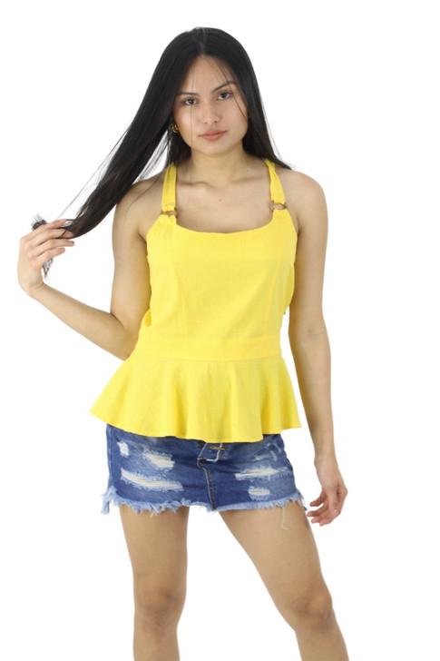 Cotton Sleeveless Ruffled Blouse with Cross Tie Back 6pcs