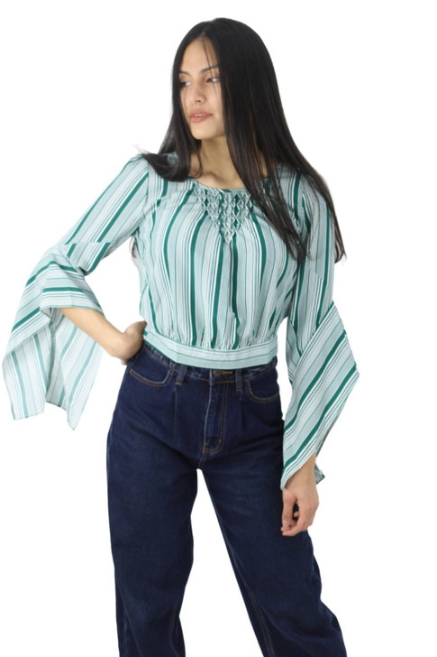 Green Decoratad Neck Button Back Blouse with Hanging Sleeve 6pcs